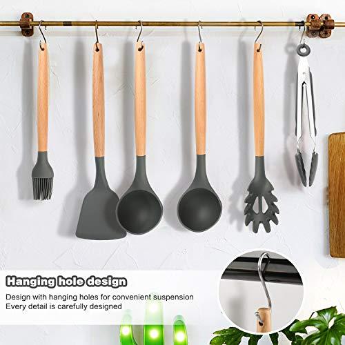 WisFox Utensili Cucina Set Set di Utensili da Cucina in SiliconeResistente al Calore con Manico Legno Antiaderenti da Cucina 11 Pezzi 10 S Ganci  Grigio