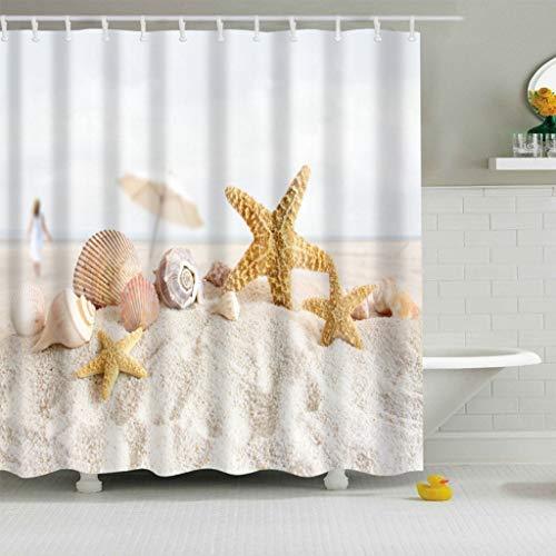 XLabor Tenda da doccia colorata con motivo ad albero 240 x 200 cm antimuffa impermeabile poliestere tessuto tenda per vasca da bagno Poliestere tessuto Stella marina 180200cm BxH