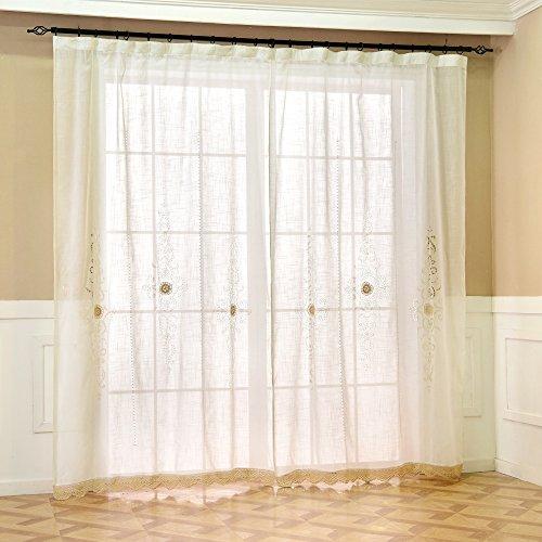 ZHH Tende in voile a mano Hollow crochet pizzo finestra tenda a pannello di  1 pezzo bianco Tessuto 150 x 260cm