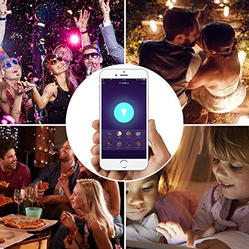 Lampadina intelligente Aunics 2 Pezzi Lampadina Smart per Alexa Google Home IFTTT 7W E27 Colori 16 Milioni Controllo Remoto App iOS Android Illuminazione Led per Casa Domotica Multicolore