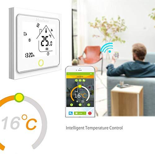 Termostato WiFi per Caldaia a GasAcquaTermostato intelligente Schermo LCDTN schermo Touch Button Retroilluminato Programmabile con Alexa Google Home e Telefono APPBianco