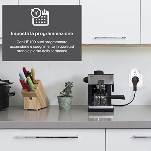TPLink Presa WiFi HS100 Smart Plug Compatibile con Alexa e Google Home Controllo dei Dispositivi Ovunque Mediante Kasa App Nessun hub esterno necessario Presa e spina EU