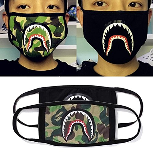 Srovfidy Fashion a Bathing ape Bape Shark nero maschera camouflage mouthmuffle Bape cover A
