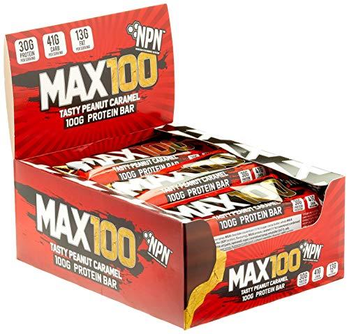 NPN MAX 100 Protein  Carb bar  Barretta proteica per lo sport gusto premium  9x100g Caramello di arachidi gustoso
