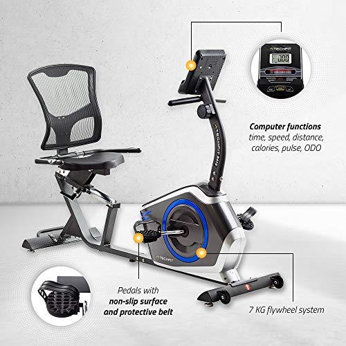 TechFit R410 Cyclette Orizzontale Recumbent Ergometro Ideale per Allenamento di Recupero con Sella Regolabile Sensori a Impulsi e Monitor LCD