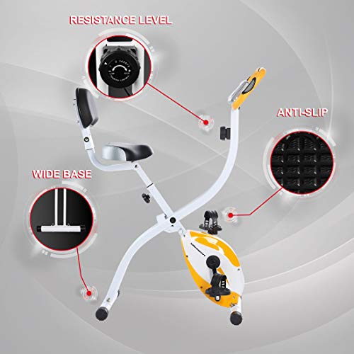 Ultrasport Trainer da Casa FBike 200B con Sensori delle Pulsazioni con Schienale Ripiegabile UnisexAdulto Arancione Taglia Unica