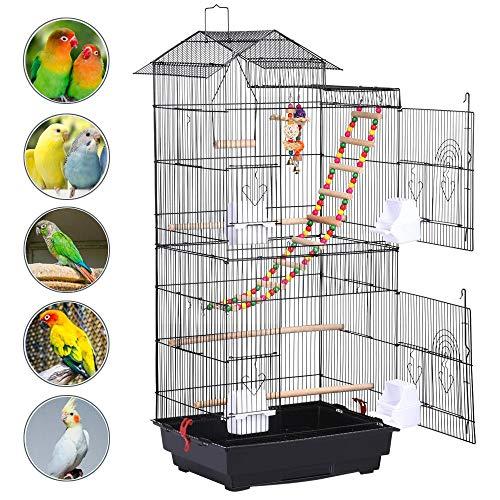 Yaheetech Gabbia Voliera per Uccelli Pappagalli Inseparabili Calopsite Parrocchetti in Metallo e Legno Nera con Giocattoli
