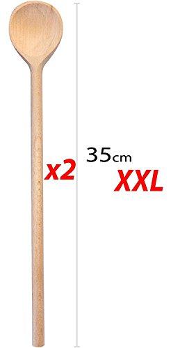 RSW24  Set 5pezzi cucchiaio da cucina in legno duro 2535cm di lunghezza in legno di faggio legno duro diverse misure utensili da cucina realizzati in Europa con mestolo da mensa e cucchiaio da cucina