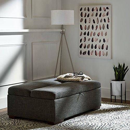 Marchio Amazon Rivet ottomana a divanoletto stile moderno larghezza 122 cm colore grigio scuro