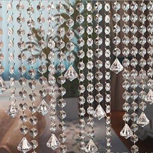 10 x 1m tenda della porta acrilico cristallo ghirlanda perline Octagonal Garland tende appesi ciondolo decorazione del partito di nozze decorazione fai da te con diamante acrilico