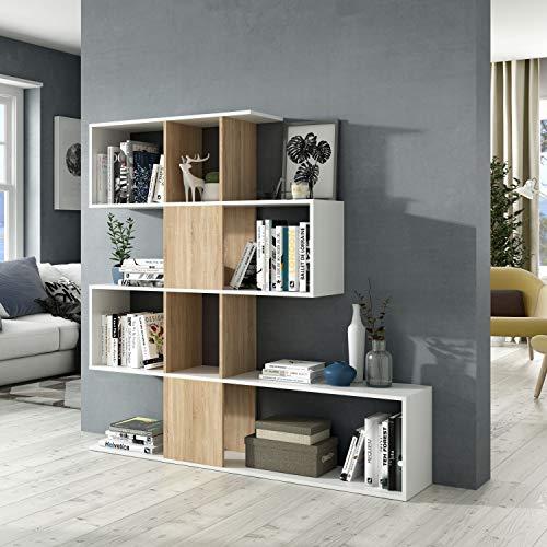 13Casa  Kafka D11  Libreria Dim 145x29x145 h cm Col Rovere Bianco Mat Melamina