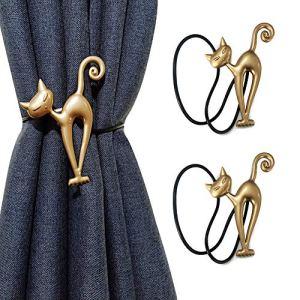 1 paio2 fermatenda magnetici  carino gatto cartoni animati tendaggi fibbie fermatende fermatende fermatenda  legante tessitura per la decorazione della casa e dellufficio Oro