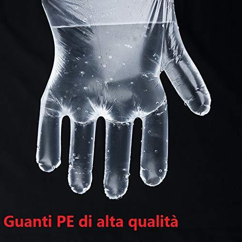 200pc guanti trasparenti usa e getta in plastica usa e getta per lavorare in polietilene per cuocere pulire lavare dipingere colorare i capelli trasparenti