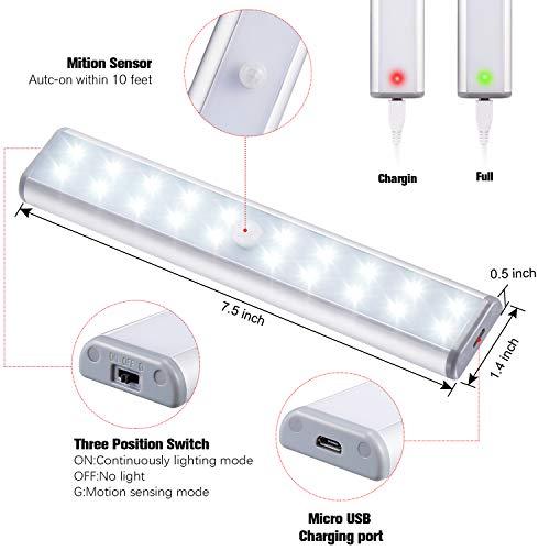 20Led Armadio Sensore Movimento Luce Wireless Luci Notturne Barra Lampada Guardaroba Usb Batteria Ricaricabile Luce Emergenza Striscia Magnetica Adesiva Luce per Armadio Scale Corridoio Cucina 2PCS