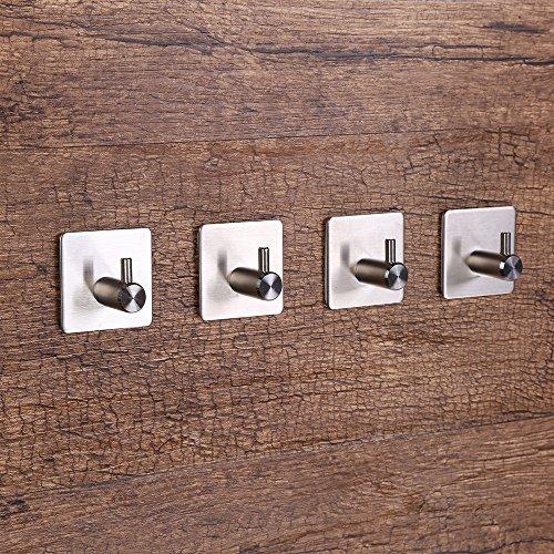 4 packs Gancio autoadesivo adesivo impermeabile in acciaio inox asciugamano ganci ganci a parete rack per cucina bagno Gancio Doppio lacciaio inossidabile ganci