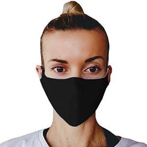 5 Nero Maschera per viso paradenti maschera in tessuto di cotone maschera protettiva lavabile paradenti riutilizzabile maschera per bocca lavabile maschera antipolvere made in EU