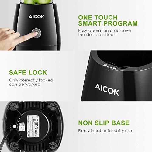 Aicok Mini Frullatore Frullatore per Frullati e Smoothie con 2 Portatile Bottiglie in Tritan600 e 330ml 4 Lame in Acciaio Inox 300 W 23000 girimin senza BPA Blender Smoothie Maker