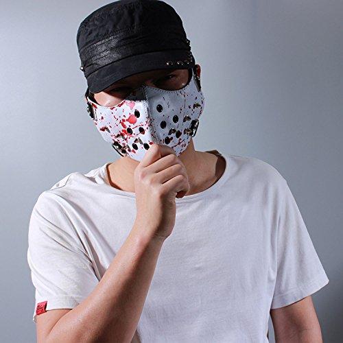 Aieoe antivento maschera antipolvere in pelle moto bicicletta ciclismo maschera mezzo volto donna White  Red 23  14 cm