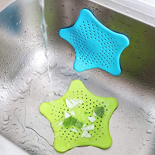 AIFUDA  Set di 7 colini in silicone per scarico dei capelli con 2 filtri per scarico dei capelli per vasca da bagno 7 colori