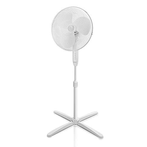 Aigostar Daisy 33JTP  Ventilatore a piantana con oscillazione a 80 altezza regolabile fino a 130cm Base stabile e salvaspazio 3 velocit e cavo lungo 180cm 40W Motore statico antirumore Bianco