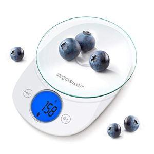 Aigostar Otis 33QUB  Bilancia da cucina digitale con display LCD da 5 kg In vetro trasparente pulsante touch Multifunzione Color bianco