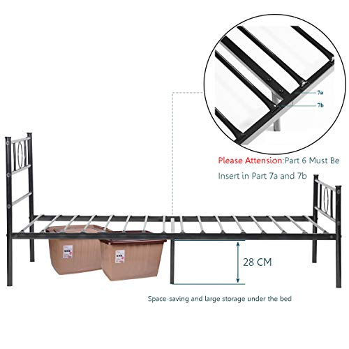 Aingoo Piattaforma di Metallo Singolo Telaio del Letto con testiera per Bambini Adulti per materassi 90  190 cm Nero