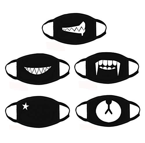 AOBETAK Di Cotone Maschera 5pc Moda Antipolvere Bocca maschere Bicicletta Maschere Unisex Bocca Maschera per Bambini Adulto Nero