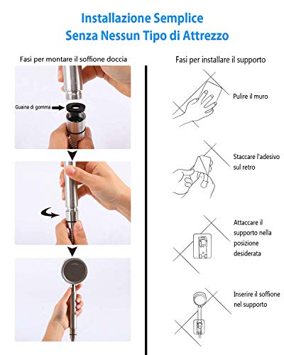 AOKKR Soffione Doccia Alta Pressione Risparmio Idrico Doccia Telefoni Doccia Set Soffione Doccia in Acciaio Inox con 15M Flessibile Doccia e supporto doccia Facile da Installare Compatibile