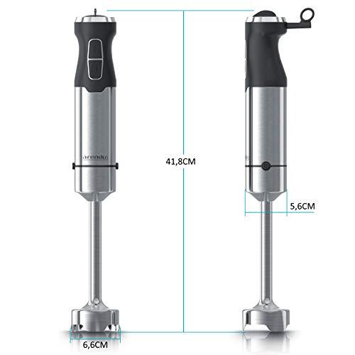 Arendo  Frullatore a immersione 1000w professionale  in acciaio inox  1000 Watt 4 Lame  Minipimer  Tasto turbo  supporto lame Lavabile in lavastoviglie  argento