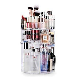 Auxmir Porta Trucchi Rotante a 360 Organizer Trucchi Multifunzione Organizzatore Cosmetici Ripiani Regolabili Grande Capacit Adatto a Crema Profumo Pennelli per il trucco Trasparente