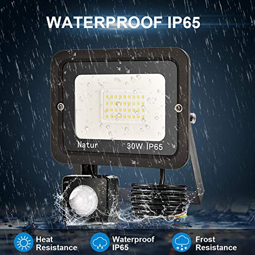 bapro 30W Faretto LED da Esterno con Sensore di Movimentobianco caldo 3000K Faretto led da esterno Led floodlight IP65 Impermeabile per Parcheggio Ingresso Corridoio Garage