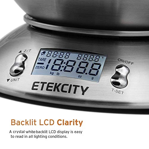 Bilancia Cucina Digitale Etekcity Bilancia da Cucina Elettronica in Acciaio Inossidabile 5kg 11lb con Ciotola Rimovibile Funzione Tare Timer Allarme Indicatore Temperatura Display LCD Argento