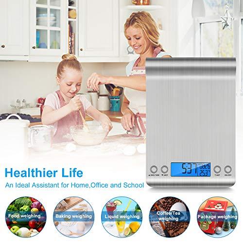 Bilancia da Cucina 5Kg1g Bilancia Elettronica Digitale Alta Precisione Misurazione Display LCD Multifunzione da Cucina e Acciaio Inossidabile Usato Come Sveglia 2 Batterie Incluse argento