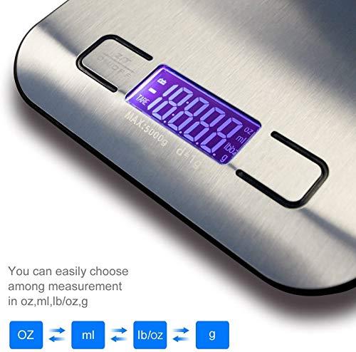 Bilancia da Cucina Digitale Alta Precisione fino a 1 g Peso Massimo 10 kg Funzione Tare Display LCD Acciaio inossidabile gkgozlbmlmilk ml