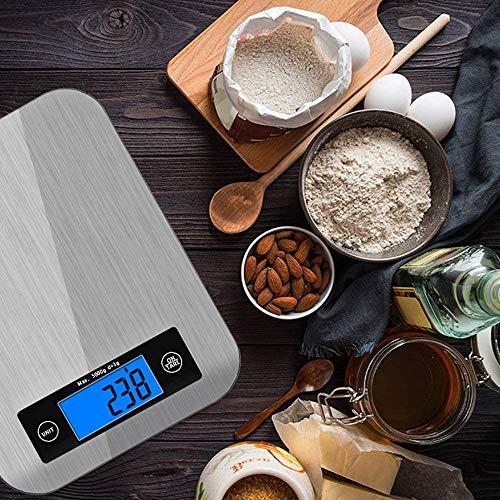 Bilancia da Cucina Digitale Bilancia da Cucina Elettronica in Acciaio Inox da 5kg con Gancio Display LCD Blu Funzione Tara Spegnimento AutomaticoBilance da Cucina Professionali che Pesa Cibo