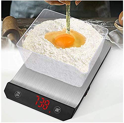Bilancia da Cucina Digitale Con Funzione Tare 15KgKUSINA Bilancia Elettronica Professionale ad Alta Precisione con 5 Unit di Misura in Acciao Inossidabile e Display a Led