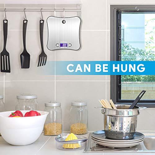 Bilancia da cucina in acciaio INOX robusto bilancia digitale professionale di precisione fino a 1 g 5 kg di peso massimo funzione bilancia da cucina appesa