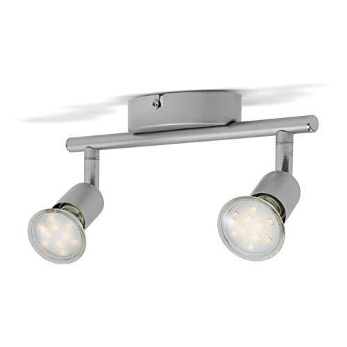 BK Licht Faretti LED da soffitto orientabili include 2 lampadine GU10 da 3W luce calda 3000K plafoniera LED moderna da soffitto corpo in metallo color titanio 230V IP20