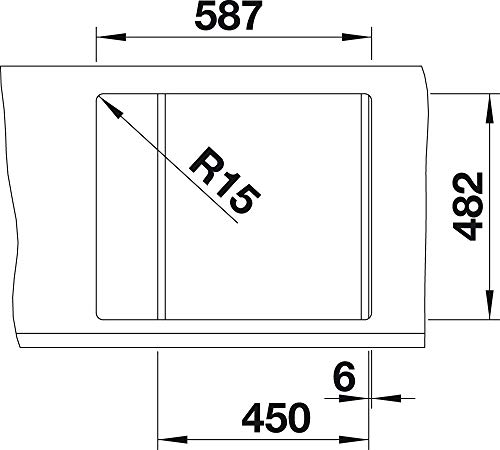 BLANCO TIPO 45 S Mini Lavello montato su piano Rettangolare Acciaio inossidabile