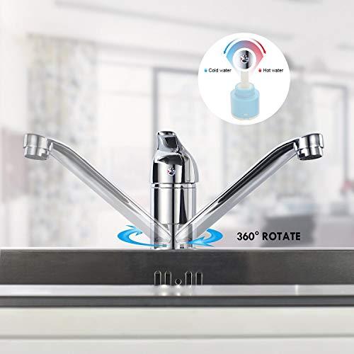 BONADE 360 Girevole Miscelatore Monocomando Rubinetto per Cucina Lavello di Ottone Cromato Design Classico