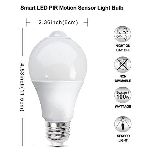 BRTLX E27 Lampadina LED con Sensore Lampadine A60 13W Bianca Calda 3000K Automatico OnOff per Veranda Garage Corridoio 2 Pezzis
