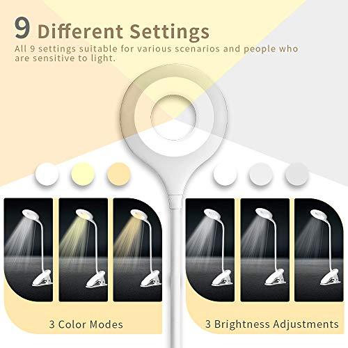 Bteng Lampada da scrivania 28 LED con Clip lampada da libro per la protezione degli occhi 3 colori  3 luminosit lampada da lettura a controllo tattile Lampada Libro USB Ricaricabile