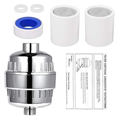 CAMWAY Filtro DocciaFiltro per Acqua Doccia Depuratore 18 Strati con Filtro SostituibileDoccia Purificatore per Regolare il pH dellacqua e Filtrare CloroMicrobi e Metalli Pesanti