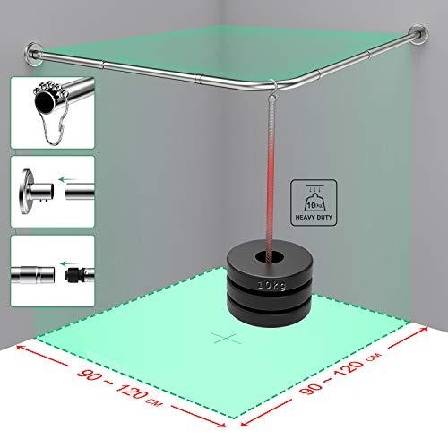 Canne per tende da doccia tipo L 275X395355X47INCH asta per tende elastiche multifunzionale materiali militari in acciaio inossidabile per bagno vasca da bagno negozio di abbigliamento ecc