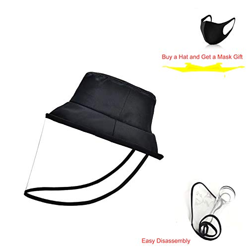 Cappelli da Pescatore in Cotone Nero allaperto alla Moda Pieghevoli con Protezione Completa Trasparente Rimovibile Maschera AntiPolvere per Campeggio Cappelli da Trekking Spiaggia Viaggi Pesca