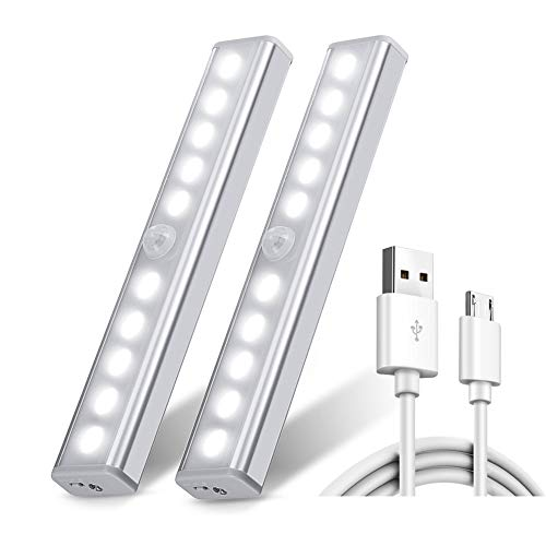 Chesbung 2 Pezzi Ricaricabile USB 10 Luci LED Armadio Sensore Movimento per Illuminare Armadi Striscia Magnetica Adesiva Luce per Armadio Scale Corridoio Cucina Garage AutoOnoff Bianco