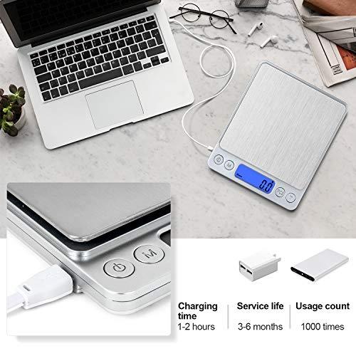 CHWARES Bilancia Cucina Digitale con Carica USBBilance per Alimentari Elettronica ad Alta Precisione 3kg01gMultifunzione Peso Cucina conmini bilancia per alimentibilancia digitale impermeabile
