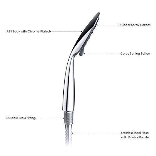 CLOFY Soffione docciadoccia a mano3 funzioni getti cromato con tubo in acciaio inox da 150 cm