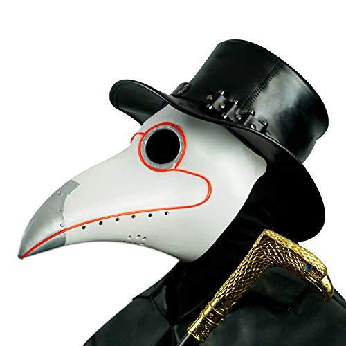 CreepyParty LED Maschera Medico Peste Maschera di Oggetti di Scena di Halloween Steampunk Becco Lungo Becco di Uccello Luce Bianca