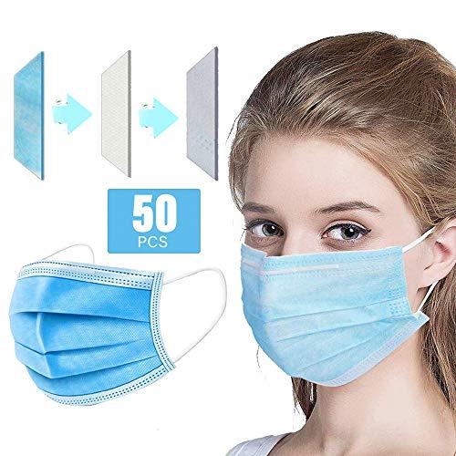Decdeal 50 Pezzi Protezione per Il Viso Monouso 50 Pezzi3 Strati FiltroProtezione di Sicurezza Non Tessuta Sanitaria